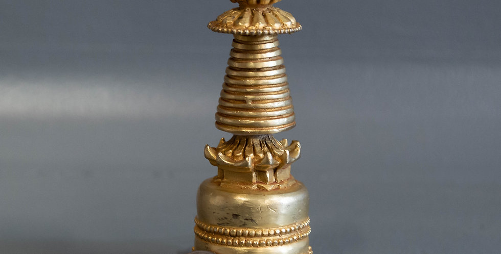 Small, Gold Plated, Bronze Mini Stupa