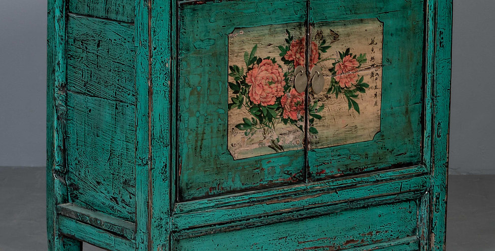 Green Painted Chinese Hall Cabinet