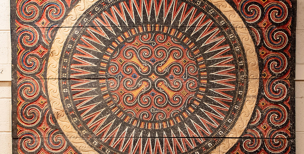 Large Carved & Painted Sulawesi House Panel