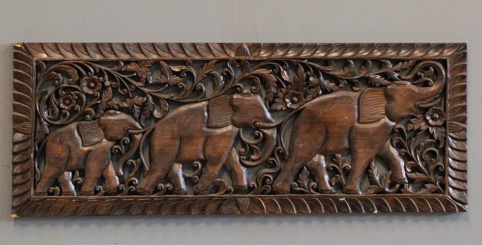 Contemporary Pierced Carved Wood Panel
