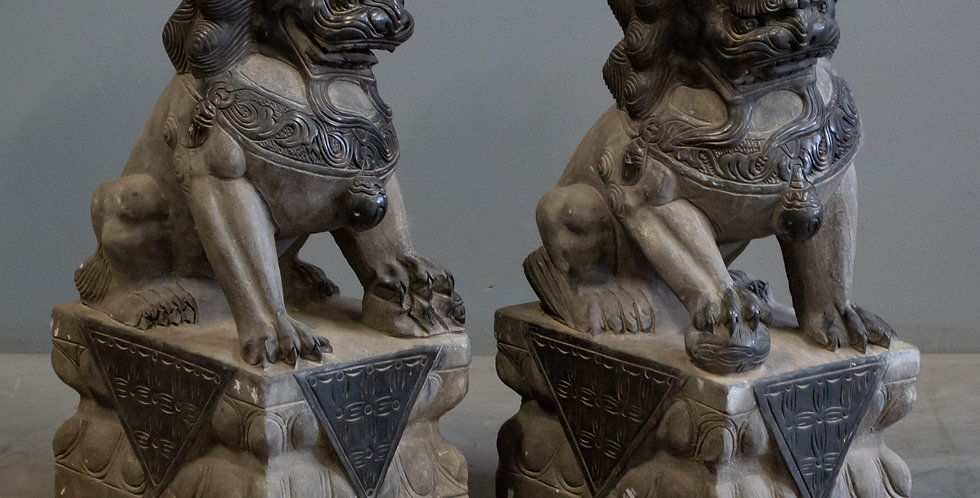 Pair of Carved Foo Dogs