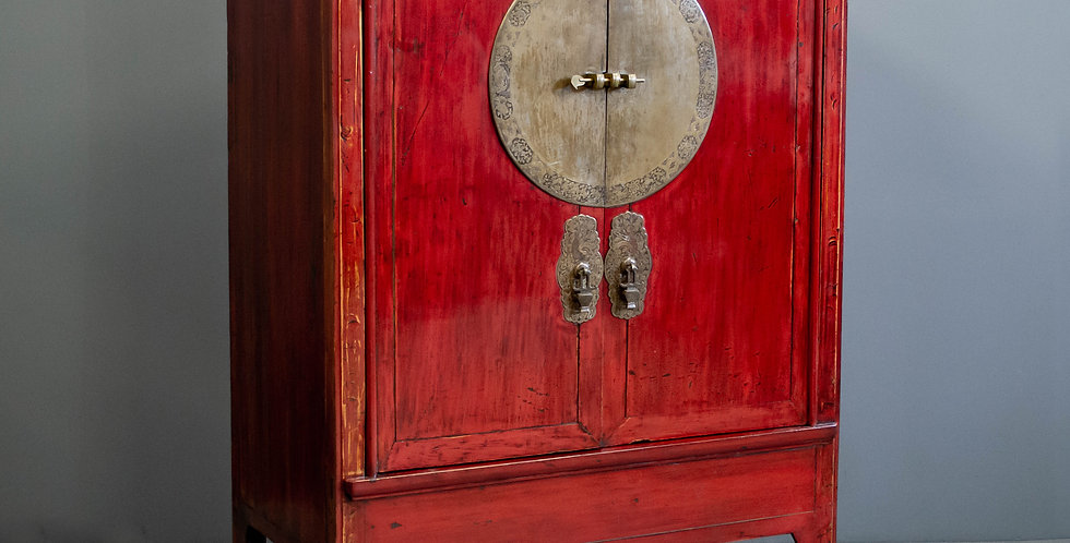 Vintage Chinese Red Lacquered Cabinet
