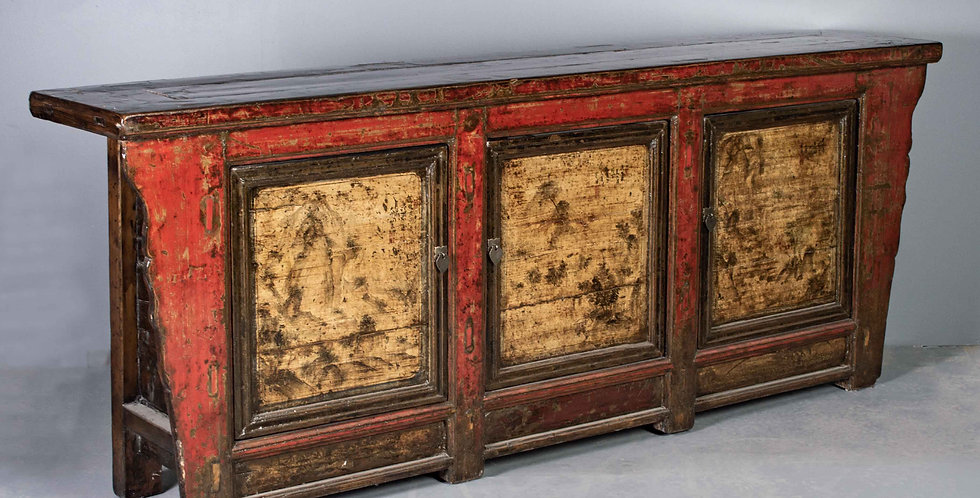 Antique Three Door Painted Chinese Sideboard / Cabinet