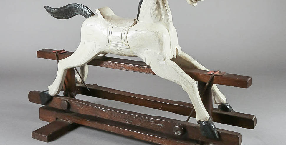 1900's Hand Carved Rocking Horse