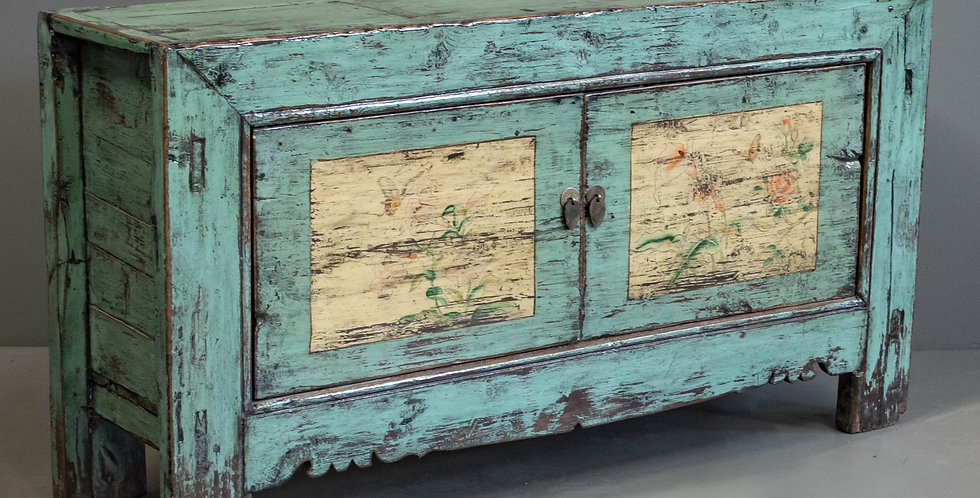 Antique Chinese Blue/Green Sideboard Cabinet