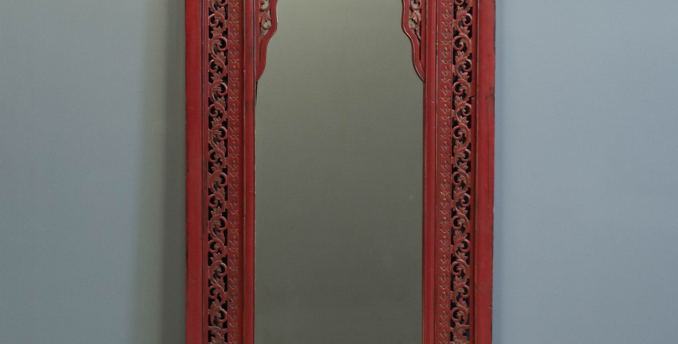Carved Red Lacquer Chinese Pier Mirror