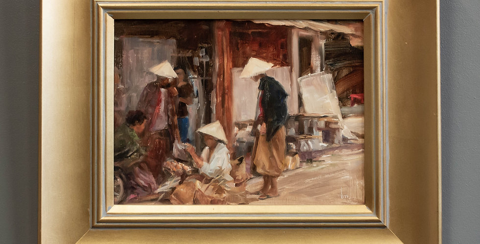 Oil Painting of Asian Market
