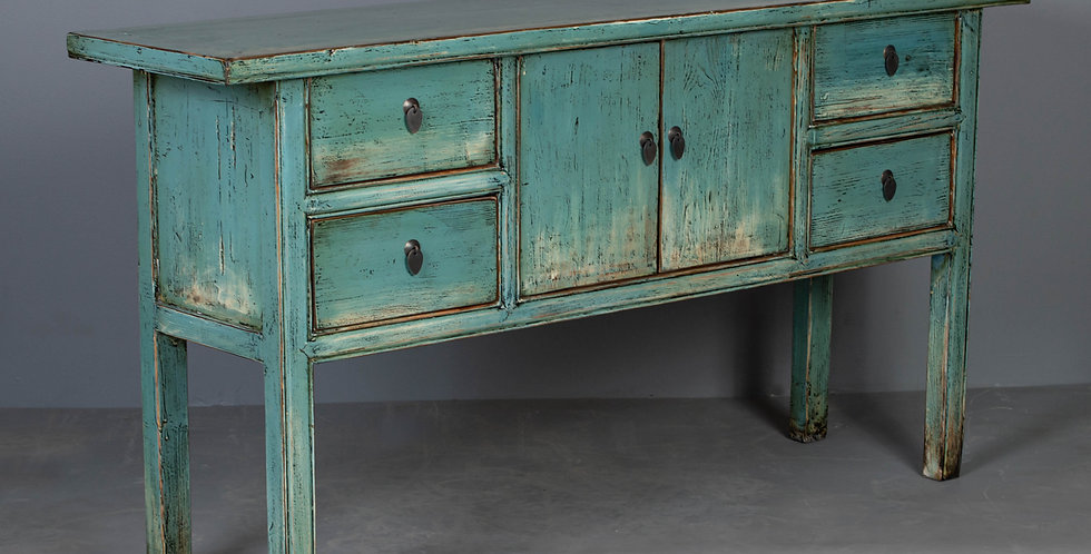 Lacquered Console Table, Green / Blue