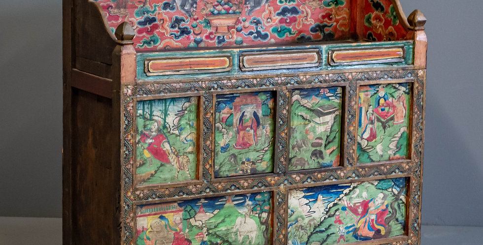 Antique Painted Tibetan Altar Cabinet