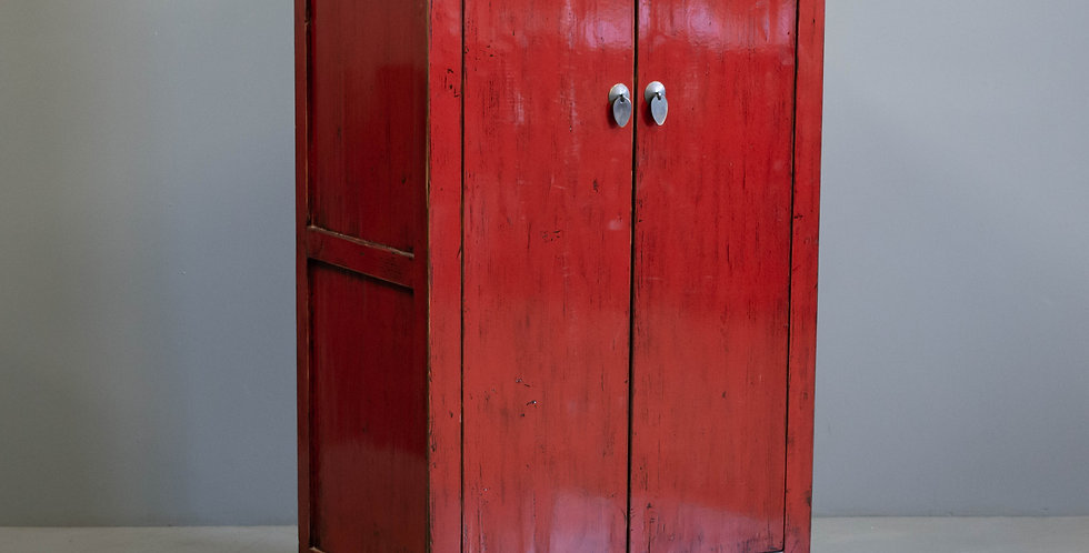 Red Painted Lacquered Chinese 2 Door Cabinet