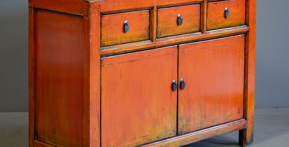 Chinese Orange Painted Cabinet