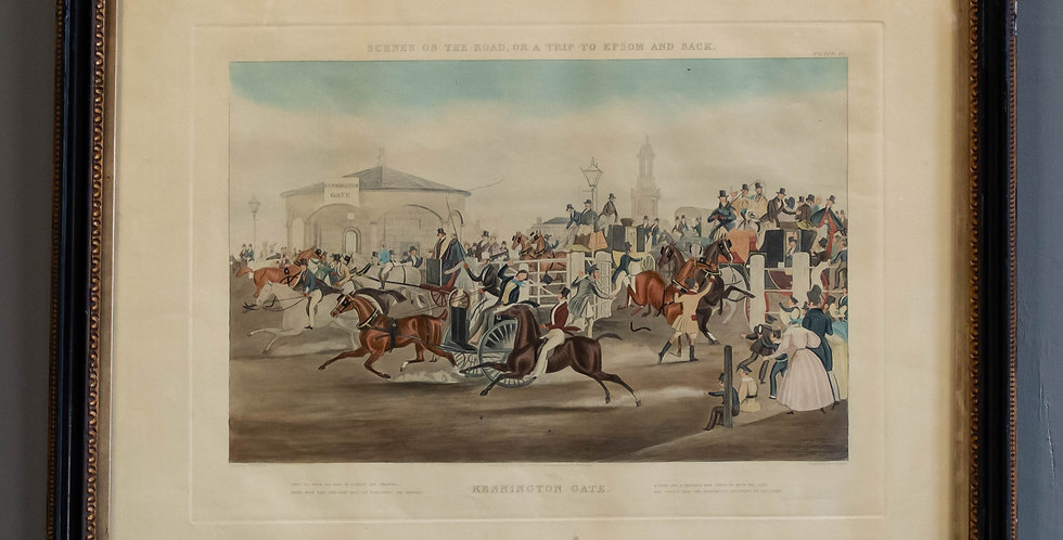 "Antique English Colored Engraving ""Kennington Gate"""