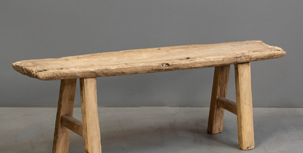 Rustic Chinese Pine Slab Bench