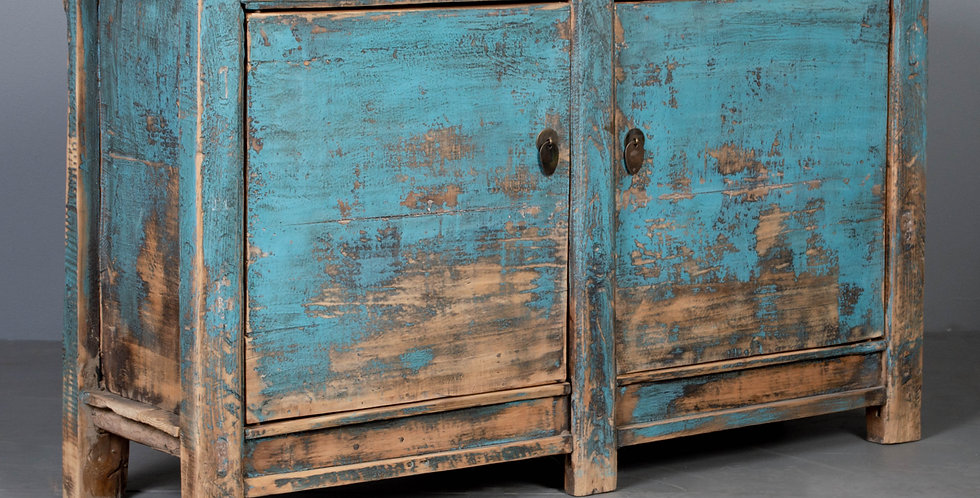 Antique Sideboard Cabinet With Distressed Blue Paint