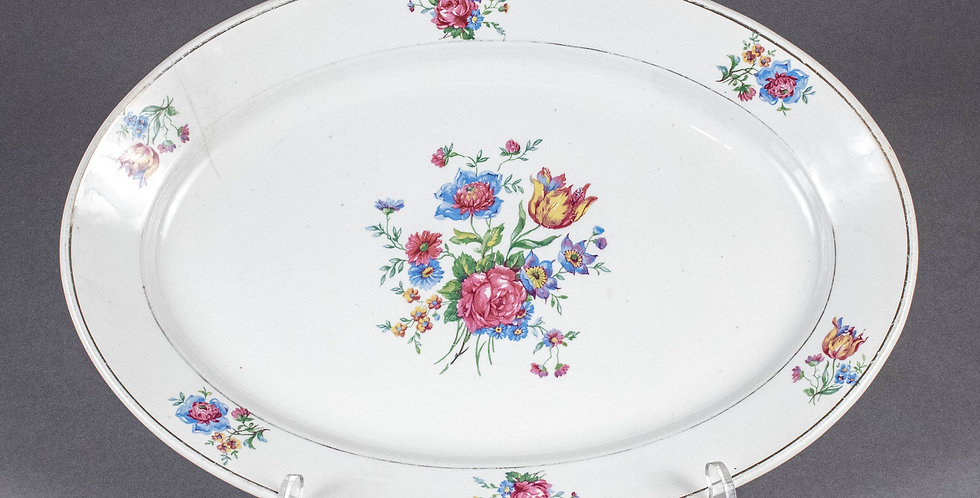 Vintage French Country Flower Oval Serving Platter