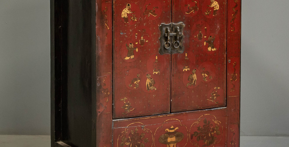 Antique Red Painted and Lacquered Chinese Cabinet