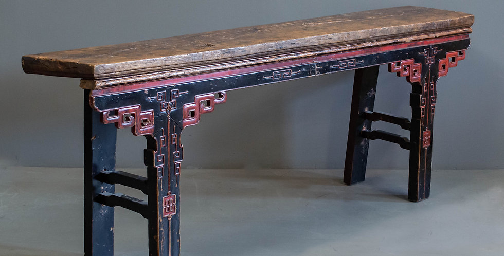 Antique Red and Black Painted Altar/Console Table