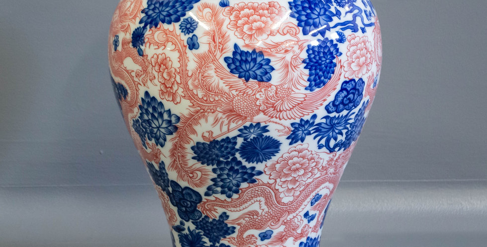 Chinese Blue & Red Dragon Vase