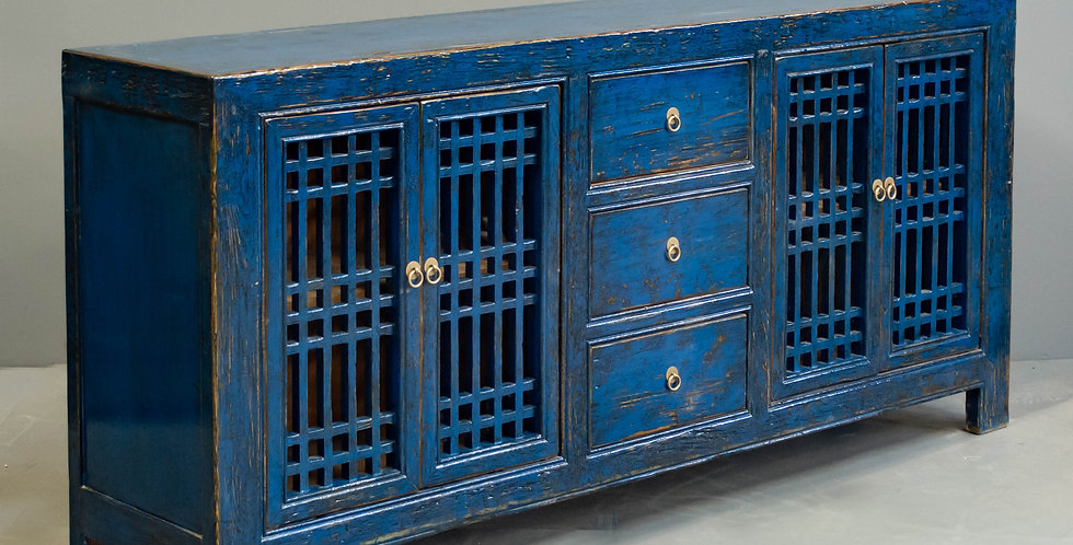 Blue Painted Chinese Sideboard/Cabinet