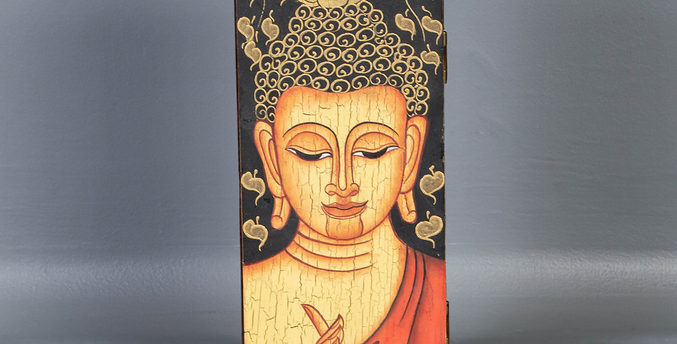 Small Painted Wooden Buddha Box