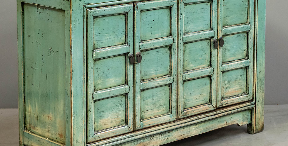 Blue/Green Painted and Lacquered Cabinet