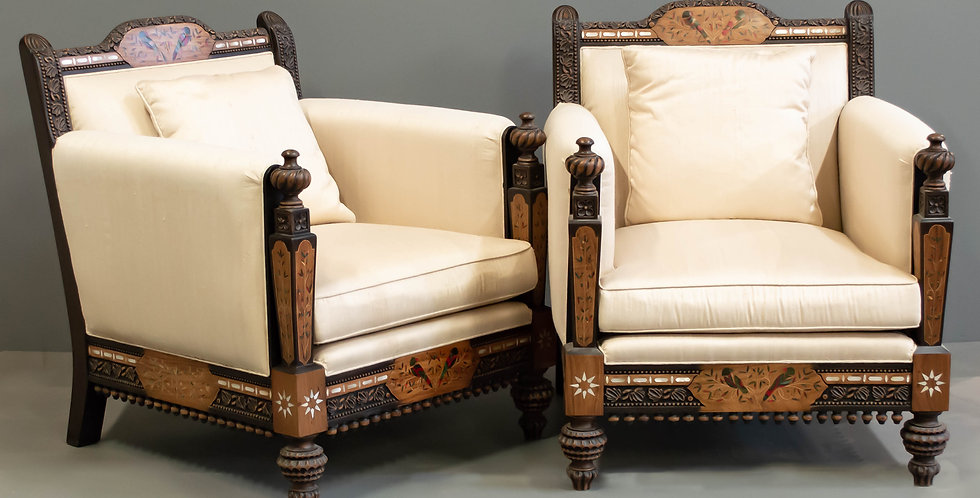 Carved and Inlaid Upholstered Chair