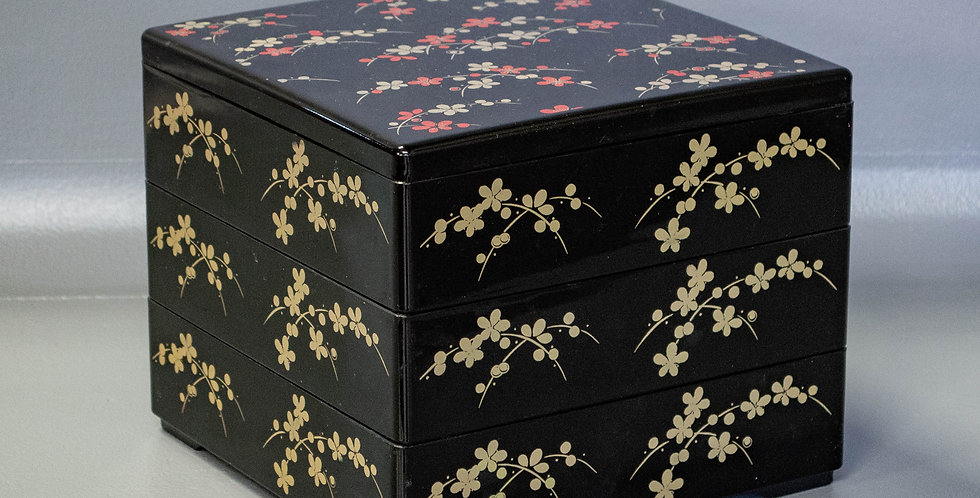 3 Tier Stacking Box Set Featuring A Flower Motif