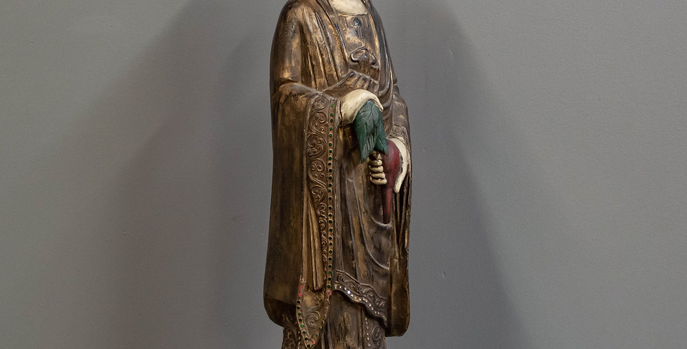 Carved and Painted Quan Yin Statue