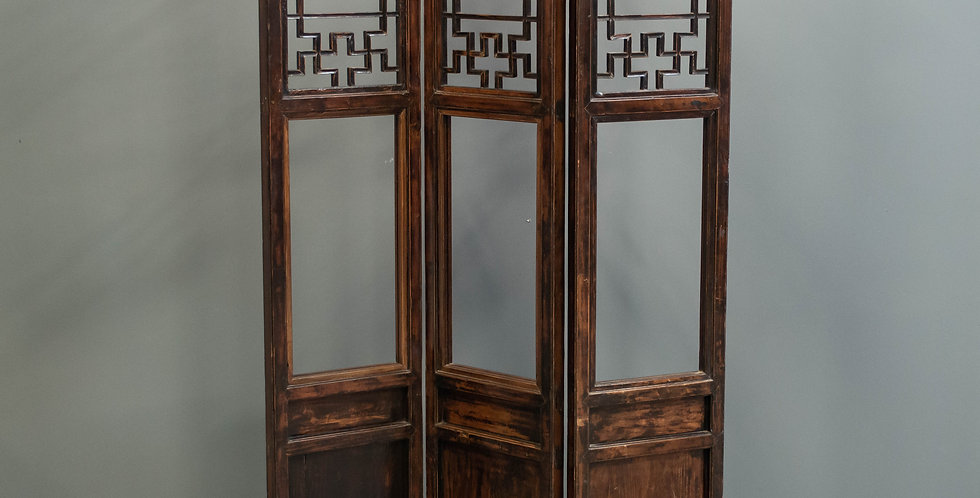 Antique Chinese Three Panel Folding Screen