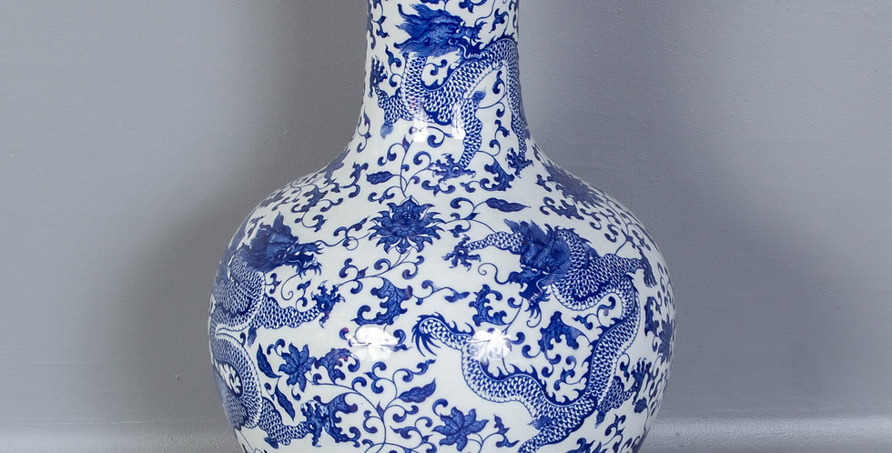 Blue and White Chinese Dragon Vase