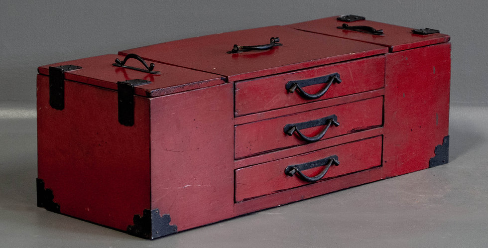 Vintage / Antique Red Lacquered 6 Drawer Box