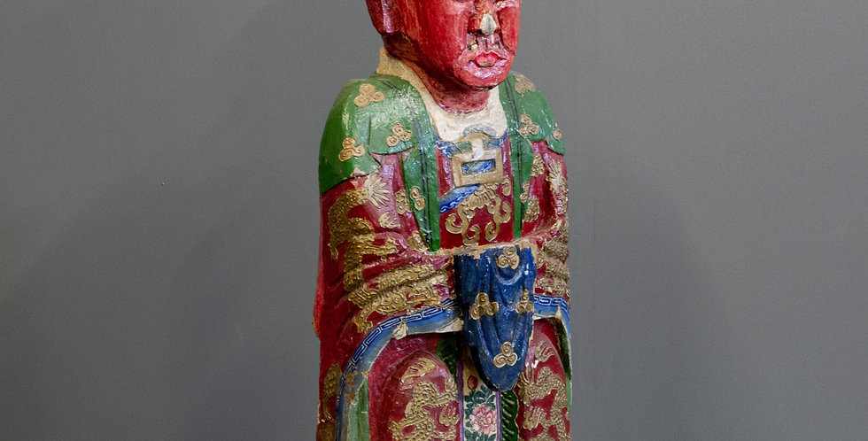 Antique Carved and Painted Chinese Ancestor Statue