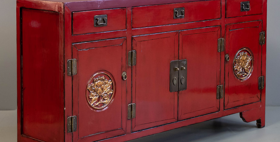 Large Red Lacquer Chinese Sideboard/Cabinet