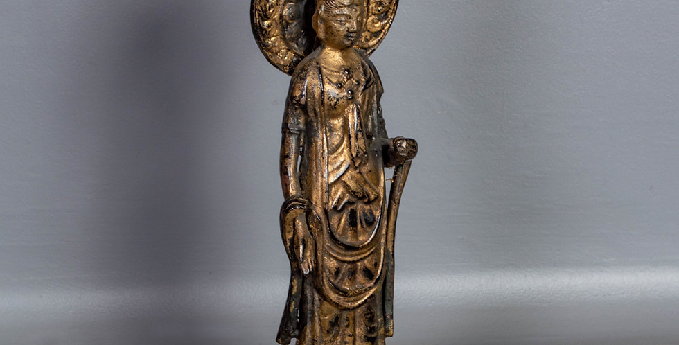 Cast Iron Buddha with Gold Paint