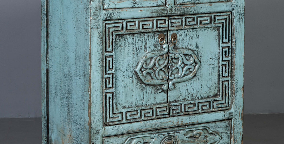 Carved Blue Painted Chinese Hall Cabinet