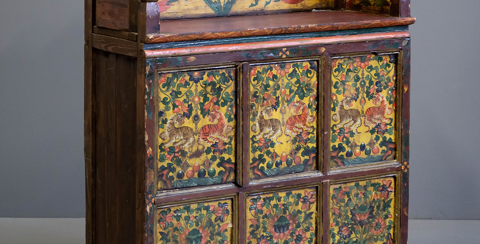 Painted Antique Tibetan Cabinet