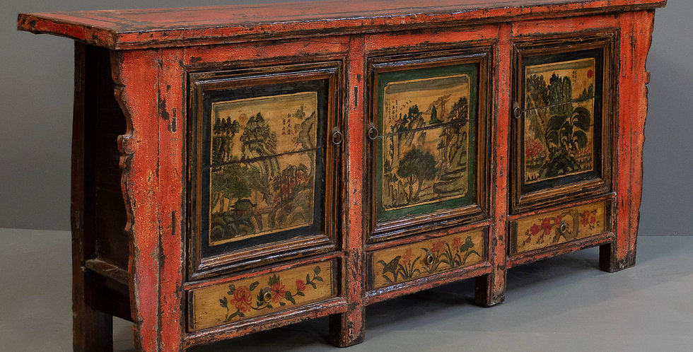 Large Antique Painted Sideboard/Cabinet