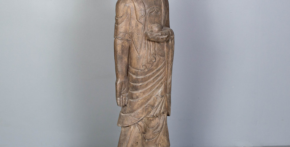Tall Carved Stone Standing Buddha