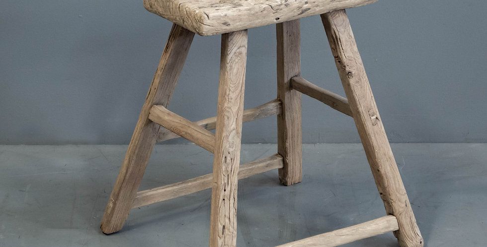 Vintage Chinese Elm and Pine Stool