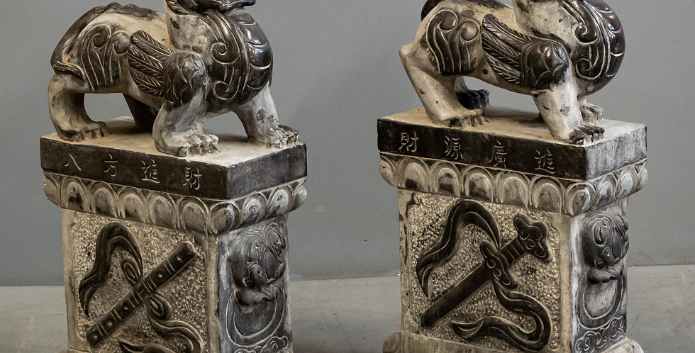Pair of Carved Black Stone Quilin