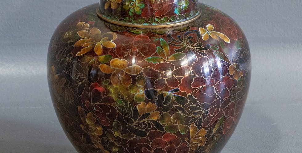 Red / Brown Cloisonné Jar with Lid