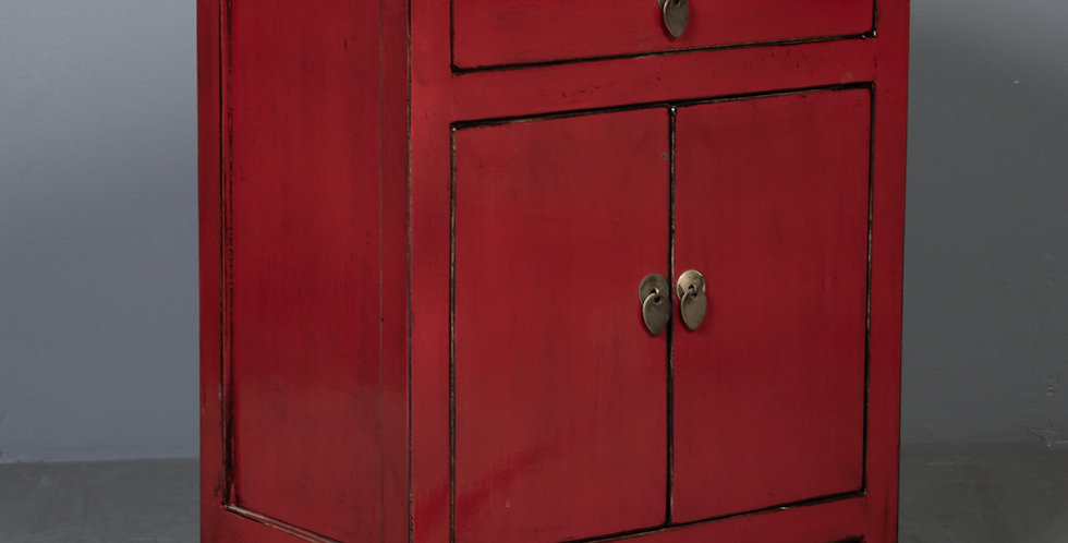Red Lacquered Nightstand / Cabinet