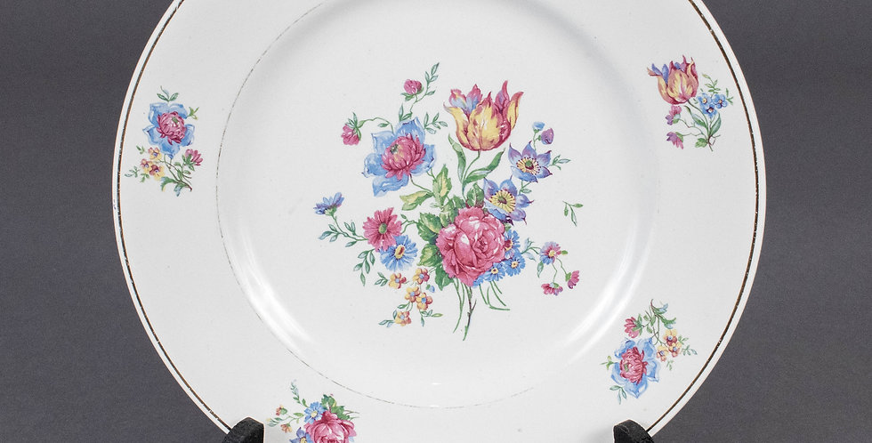 Vintage French Country Flower Round Dinner Plate