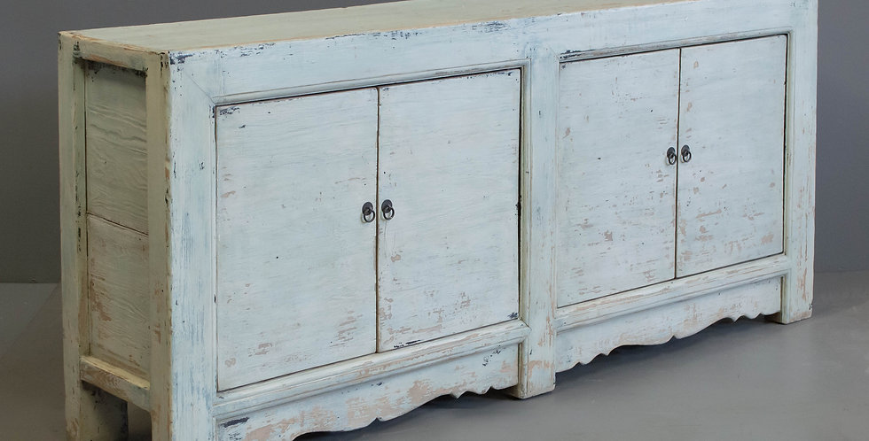 Four Door Chinese Sideboard Cabinet With Light Blue Paint