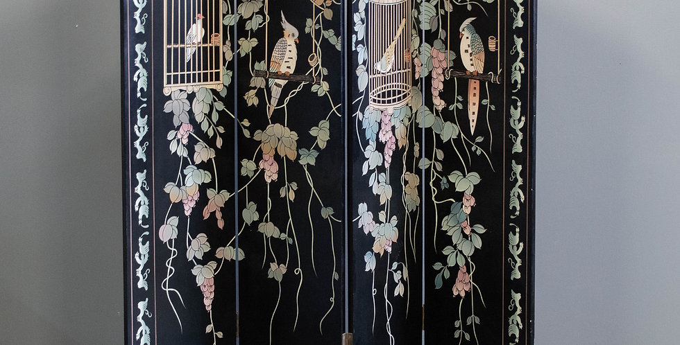 Double Sided Lacquered 4 Panel Folding Screen