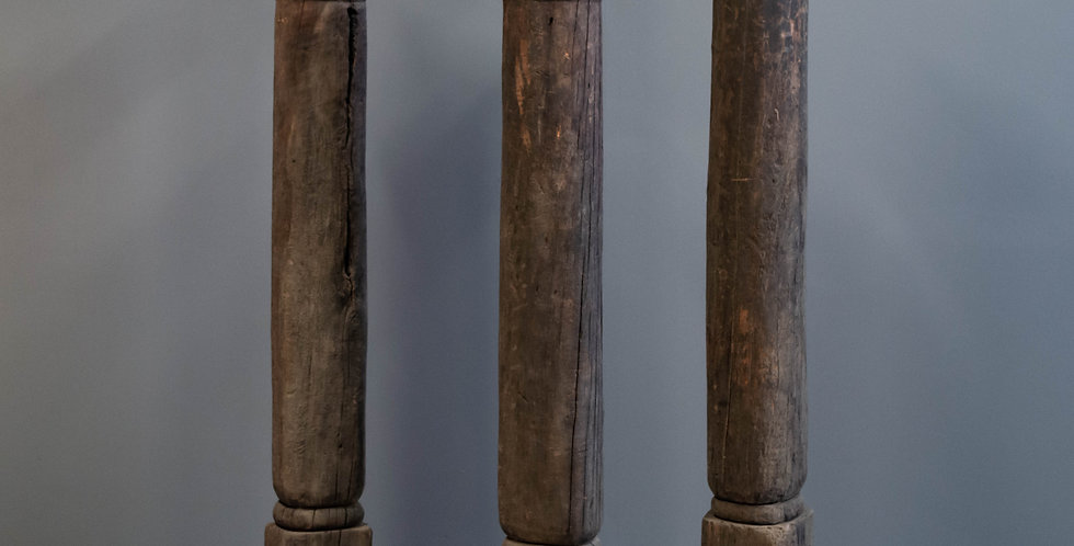 Set of 3 Vintage Hand Carved Pillars.  Architectural Pieces.