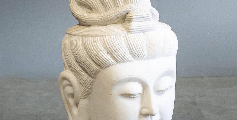 Carved White Marble Quan Yin Head