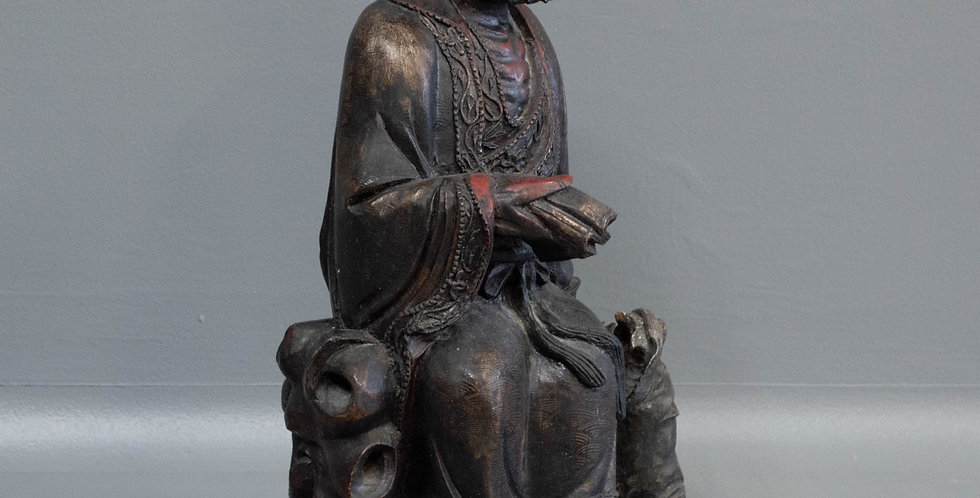 Carved Chinese Wood Scholar