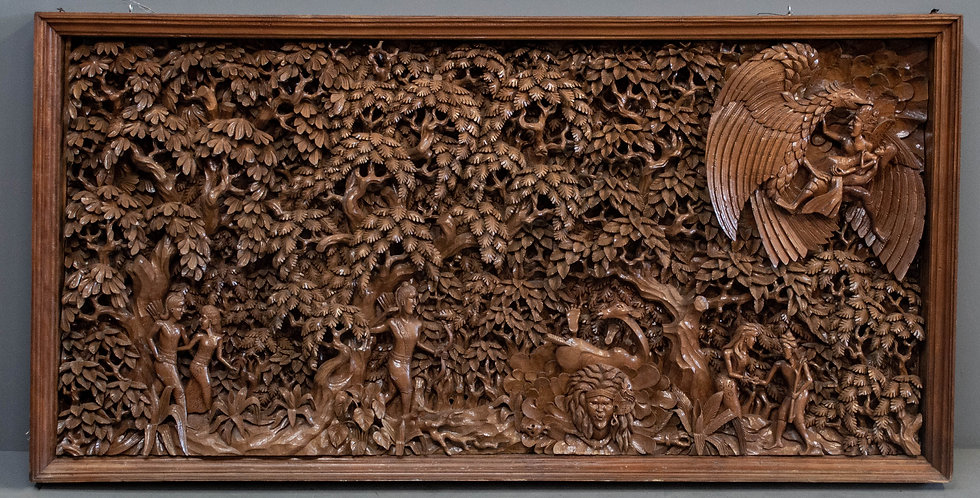 Exceptional Carved Teak Wood Panel From Bali