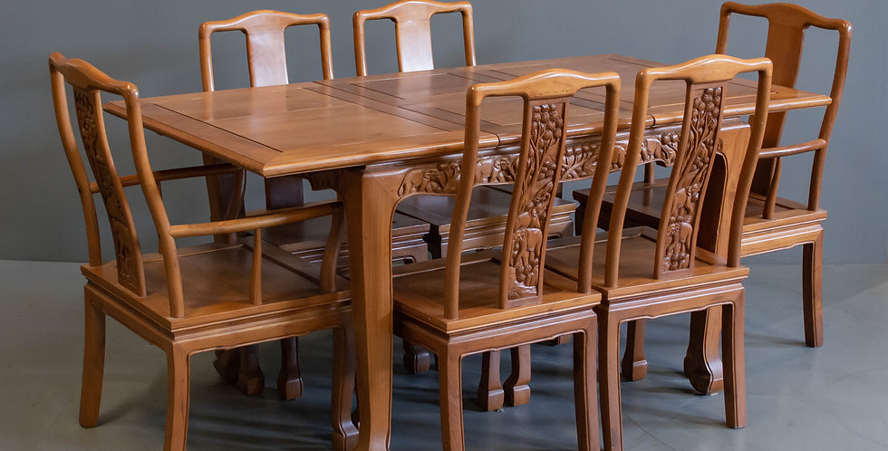 Vintage Thai Dining Table and 6 Chairs